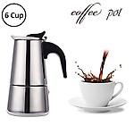 ORPIO (LABEL) Stainless Steel Espresso Coffee Maker/Percolator Coffee Moka Pot Maker, Silver (6 Cup)