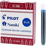 Pilot Namiki IC100 Fountain Pen Ink Cartridge Black 12 Cartridges per Pack 69100 Blue Pack of 12