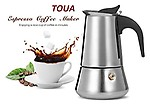 TOUA 6 Cup Italian Style Stainless Steel Espresso Coffee Maker Stove Top Percolator