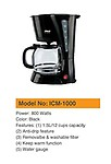 Gadget-Wagon 800 Watts Washable and Removable Filter 12 Cups ABS Plastic Coffee Maker (1.5 L)