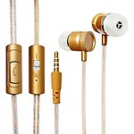 ECell Premium 3.5mm [GOLD] Metal Cutting Hifi In-ear Music Headphones