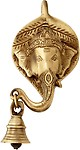 Two Moustaches Ganesh Face Wall Hanging With Bell
