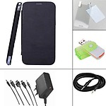 Branded Flip Case Cover for Micromax A110 - Black + Screen Guard + Aux Cable + Multi Card Reader + 5 in 1 Travel Charger