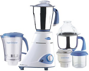 Preethi Blue Leaf Platinum MG 139 Mixer Grinder, 750W, 4 Jars (White and Blue) price in India.