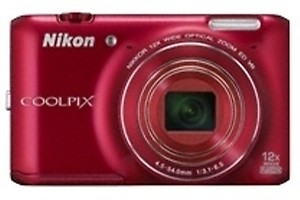 Nikon Coolpix S6400 16.0MP Point-and-Shoot Digital Camera (Red) with 4GB Card, Camera Pouch, HDMI Cable price in India.