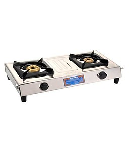 Preethi Fino Stainless Steel 2-Burner Gas Stove, 14-Pieces price in India.