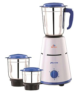 Bajaj 3 Jar Pluto 500 W Mixer Grinder  (White, Blue, 3 Jars) price in India.