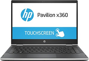 HP Pavilion x360 Intel Core i3 8th Gen 14-inch Touchscreen 2-in-1 FHD Thin and Light Laptop (4GB/1TB+8GB SSHD/Windows 10 Home/MS Office/Natural Silver/1.59 kg), cd0077TU price in India.