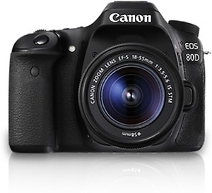 Canon EOS 80D DSLR Camera Body with Single Lens: EF-S 18-55 IS STM (16 GB SD Card)(Black) price in India.