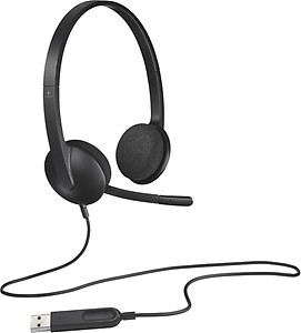 Logitech USB Headset H340 Wired Headset(Black, On the Ear) price in India.