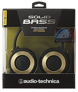Audio-Technica Solid Bass ATH-WS550iSBGD Headphones with Mic (Black/Gold) price in India.