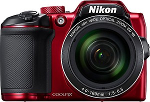 Nikon Coolpix B500 Camera (Red) with 8GB SD Card, Camera Bag and HDMI Cable price in India.
