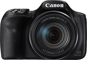 Canon PowerShot SX540HS 20.3MP Digital Camera with 50x Optical Zoom (Black) + Memory Card + Camera Case price in India.