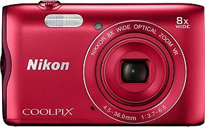 Nikon Coolpix A300 20.1MP Point and Shoot Camera with 8x Optical Zoom with 16GB Memory Card and Camera Case (Pink) price in India.