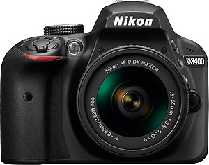 Nikon D3400 24.2 MP Digital SLR Camera (Black) + AF-P DX Nikkor 18-55mm f/3.5-5.6G VR Lens Kit + Memory Card + Camera Bag price in India.
