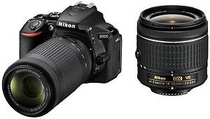 Nikon D3400 Digital Camera Kit (Black) with Lens AF-P DX Nikkor 18-55mm, 70-300mm f/4.5-6.3G ED VR Lens, 16 GB Class 10 SD Card and DSLR Bag price in India.