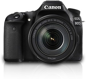 Canon EOS 80D DSLR Camera Body with Single Lens: EF-S 18-135 IS USM (16 GB SD Card)(Black) price in India.