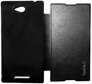 Esstain Flip Cover for SONY-C2305 Xperia C(Black) price in India.