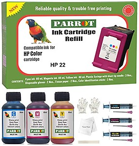 Parrot Ink Refill Compatible for HP 22 Color Ink Cartridge price in India.