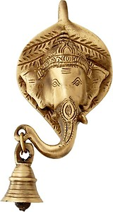 Two Moustaches Ganesha Face Brass Wall Hanging with Bell - Custom price in India.