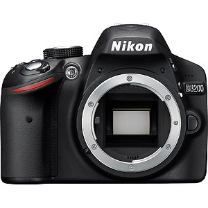 Nikon D3200 24.2MP Digital SLR Camera (Black) Body Only, 8GB Card, Camera Bag price in India.