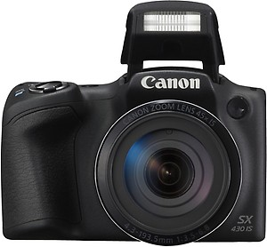 Canon PowerShot SX430B 20MP Digital Camera with 45x Optical Zoom (Black) + 16GB Memory Card + Camera Case price in India.