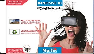 Merlin Immersive 3D VR headset for all smartphones with Droid Gamepad price in India.